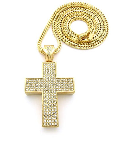 "Thick Cross Block Paved Pendant w/ 4mm 36"" Franco Chain - Gold Tone XP670G"