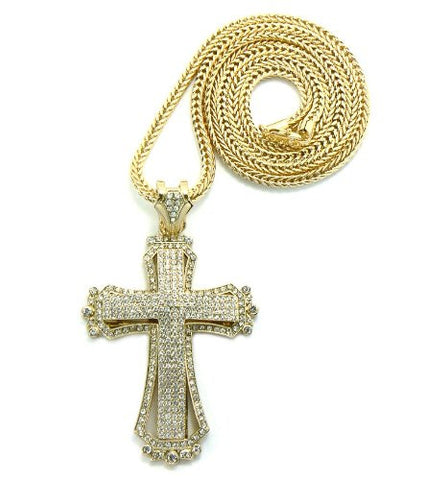 "Gold Tone Paved Medieval Style Cross Pendant w/ 36"" Franco Chain MP430G"