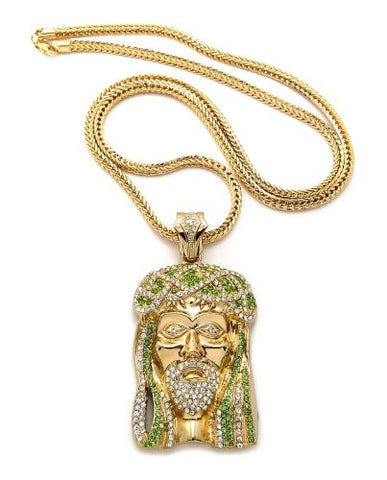 "Lime/Clear Gold Tone Jesus Pendant w/ 36"" Franco Chain MP474GLM"