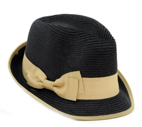 Unisex Stylish Fedora Straw Woven Hat w/ Natural Color Bow Accent by D&Y AFD8446