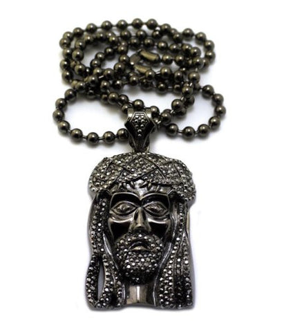 "New Hematite Tone Iced Out Jesus Pendant w/ 6mm 36"" Ball Chain MP474HEBC"