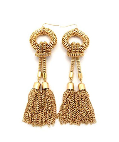 Double Tassel End Mesh Chain Drop Earrings in Gold-Tone