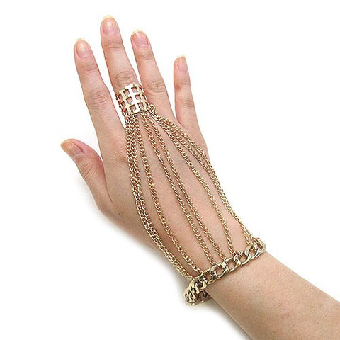 Mesh Ring Multi Strand Chain Bracelet Hand Jewelry in Gold-Tone