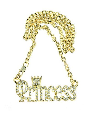Stone Studded Princess With Crown Pendant Fashion Necklace in Gold-Tone
