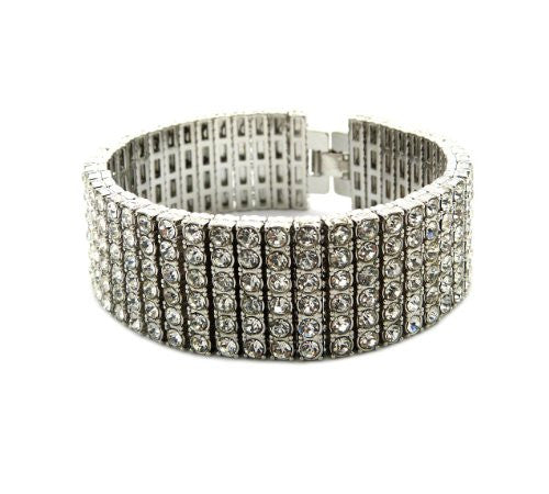 "Iced Out 6 Row Rhinestone Bracelet 8.25"" with Metal Clasp - Silver-Tone"