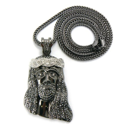 "Iced Out Crown of Thorns Jesus Pendant with 36"" Franco Chain Necklace - Hematite/Silver-Tone MP424TR"