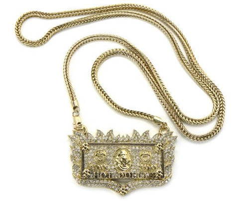 "Iced Out Gold Tone Out Flaming Hot Dollar Pendant w/ 36"" Franco Chain MP438G"