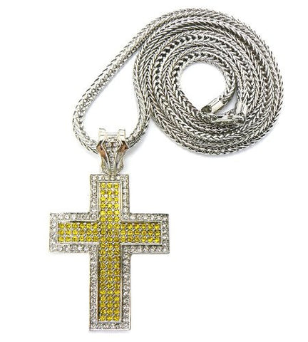 "Thick Carved Silver/Yellow Tone Iced Out Cross Pendant w/ 4mm 36"" Franco Chain"