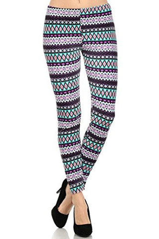 NYfashion101 Winter Fleece Lined Tribal Printed Stretch Velour Leggings