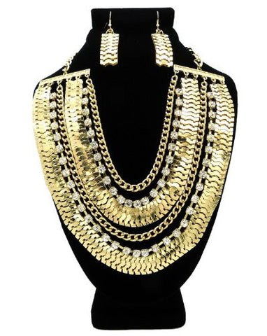 Gold Tone Rhinestone Charm Chain Necklace w/ Earrings DS1016GDCLR