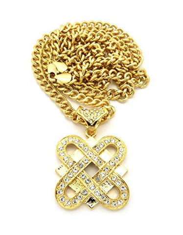 "Iced Out Criss-Cross Link Chain Pendant Necklace with 6mm 36"" Cuban Link Chain - Gold-Tone"