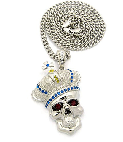 "Royal Crown Skull Head Pendant with 6mm 36"" Cuban Link Chain - Blue/Yellow/Silver-Tone"