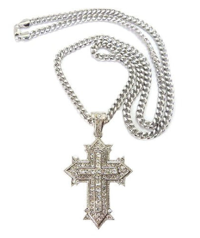 "Vintage Cross Pendant in Silver Tone w/ 6mm 36"" Miami Cuban Chain CP35R"