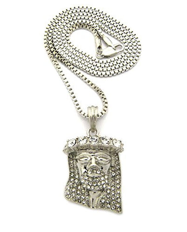 "Stone Crown Pave Jesus Pendant 2mm 30"" Box Chain Necklace in Silver-Tone"