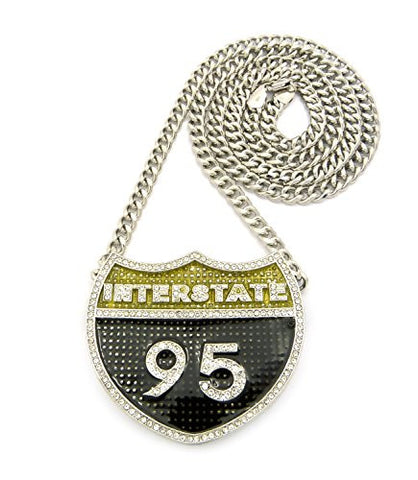 "I-95 Iced Out Interstate 95 Pendant w/ 36"" Cuban Chain - Silver Tone CP140R"