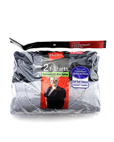 Hanes Men's 2 Pack ComfortSoft Lay Flat Collar Tagless T-Shirts-Black/Grey-S
