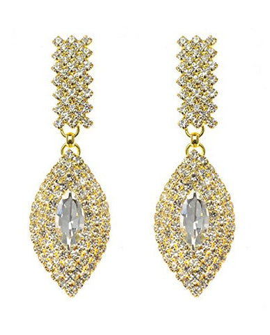 Rhinestone Studded Layered Oval Pattern Clear Gemstone Dangling Pierced Earrings in Gold-Tone