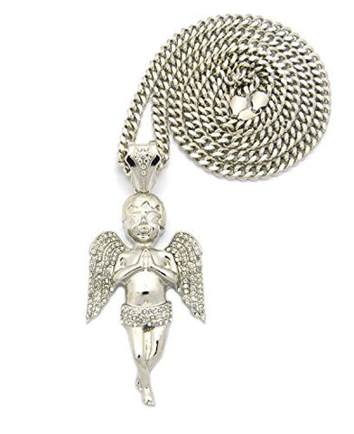 "Paved Wing Praying Angel Pendant with 36"" Miami Cuban Chain Necklace in Silver-Tone XP945RMC"