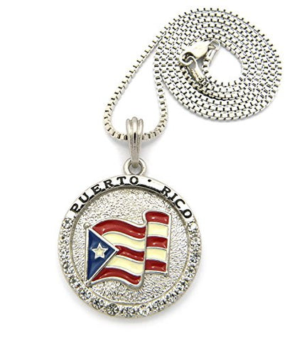 "Flag of Puerto Rico Pride Rhinestone Medal Pendant 24"" Box Chain Necklace - Silver-Tone XSP085RBX"