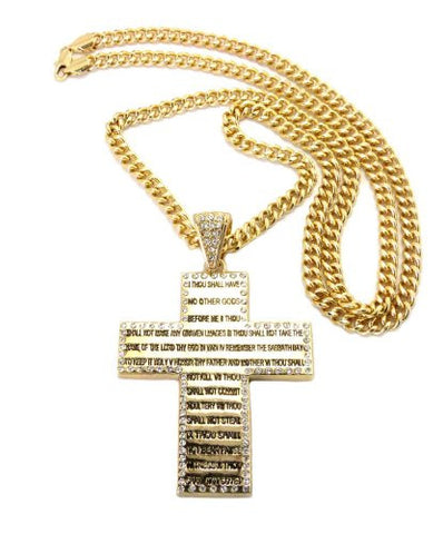 Bible Verse Cross Pendant w/ Miami Cuban Chain Necklace