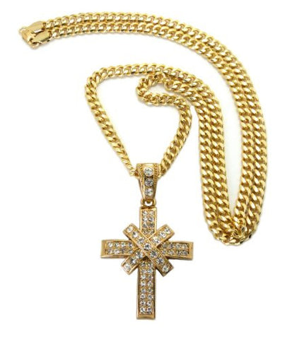 "Paved X Cross Pendant in Gold Tone w/ 6mm 36"" Miami Cuban Chain CP49G"
