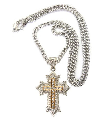 "Vintage Cross Pendant in Silver/Gold Tone w/ 36"" Miami Cuban Chain CP48RT"