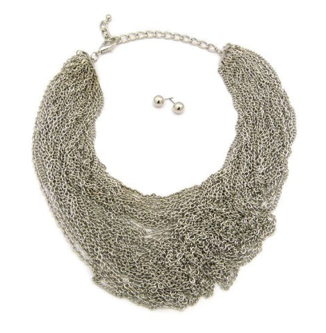 Layered Chain Cluster Necklace w/ Earrings in Silver Tone JS3012RD