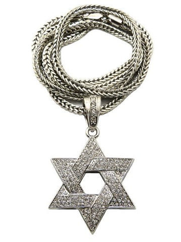 "Paved Silver Tone Star of David Pendant w/ 4mm 36"" Franco Chain MP306R"