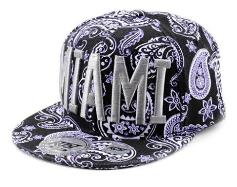 Miami Embroidered Paisley Printed Snapback Flat Bill Cap