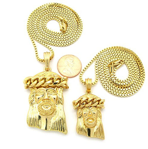 Polished Thick Crown Jesus Multi-Size Pendant Set with Box Chain Necklaces in Gold-Tone RC494G