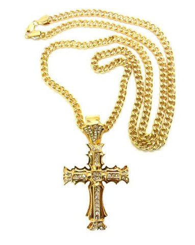 "Edged Cross Rhinestone Pendant in Gold Tone w/ 36"" Cuban Chain CP19G"