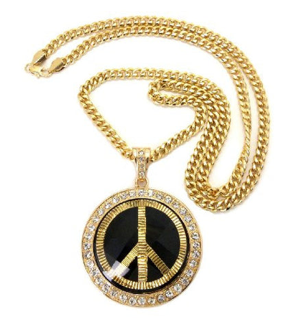 "Peace Sign Pave Faceted Stone Pendant in Gold Tone w/ 36"" Cuban Chain CP44G"