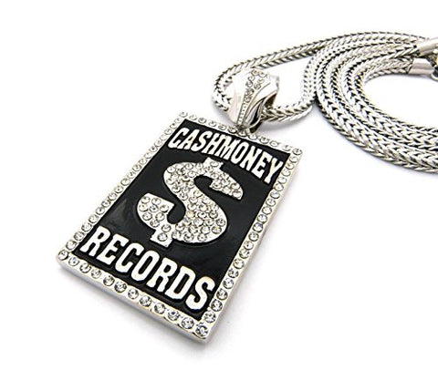 "Iced Out Cash Money $ Records Pendant 36"" Franco Chain Necklace in Black/Silver-Tone XP940R"