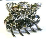 Top Quality Womens Rhinestone Medium Size Metal Claw Hair Clip Antique Silver 6 Colors