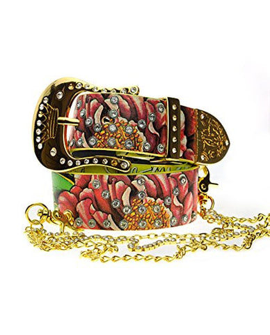 Authentic Christian Audigier Genuine Leather Belt w/ Rhinestone & Chain