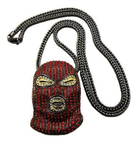 "Paved Red/Hematite Tone Goon Ski Mask Pendant w/ 36"" Franco Chain MP426HERD"
