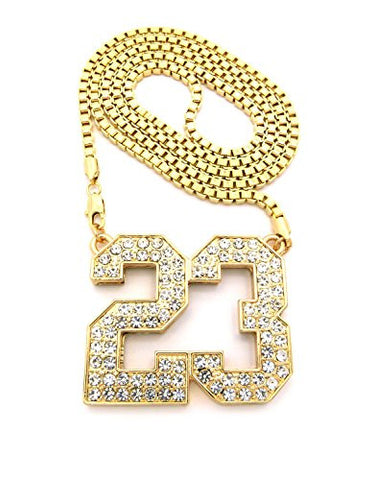 "Number 23 Iced Out Pendant w/ 36"" Box Chain Necklace - Gold Tone XP906GBX"