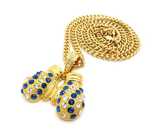 "Rhinestone Studded Boxing Gloves Pendant 6mm 36"" Cuban Link Chain Necklace - Blue/Yellow/Gold-Tone"