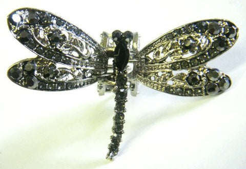 Top Quality Womens Rhinestone Medium Dragon Fly Metal Claw Hair Clip Antique Silver 6 Colors