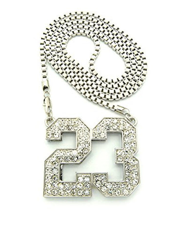 "Number 23 Iced Out Pendant w/ 36"" Box Chain Necklace - Silver Tone XP906RBX"
