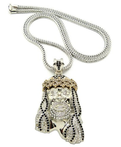 "Crown of Thorns Jesus Paved Pendant 36"" Franco Chain Necklace - Black/Clear Silver-Tone MP449R-BKCR"