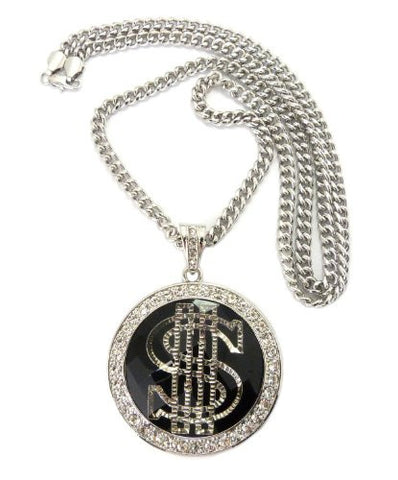 "Dollar Sign Pave Faceted Stone Pendant in Silver Tone w/ 36"" Cuban Chain CP41R"