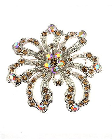 NYfashion101 Brown Rhinestone Studded Floral Brooch Pin