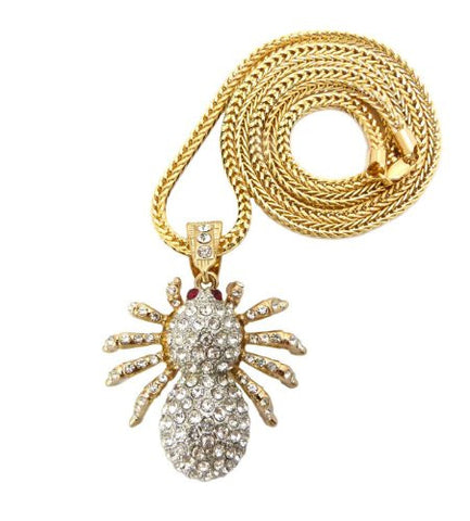 "Iced Out Silver/Gold Tone Spider Pendant w/ 36"" Franco Chain MP247G-T"