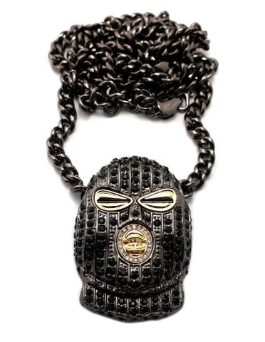 "Iced Out Ski Mask Goon Pendant in Black Tone w/ 36"" Cuban Chain CP57HEBK"