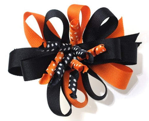 Halloween Style Dotted Ribbon Blossoming Handmade Hair Clip MADE IN USA BC2