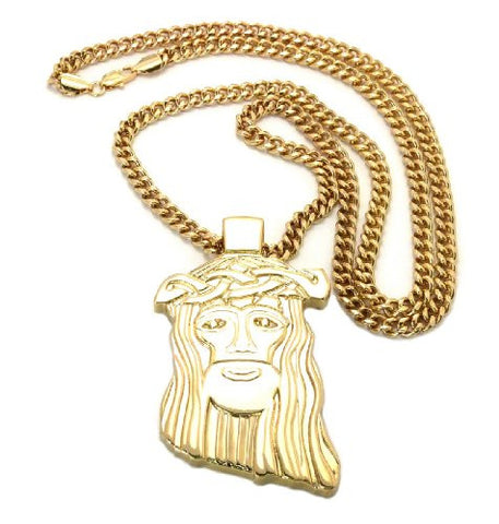 "Plain Jesus Pednant in Gold Tone w/ 6mm 36"" Mami Cuban Chain CP17G"
