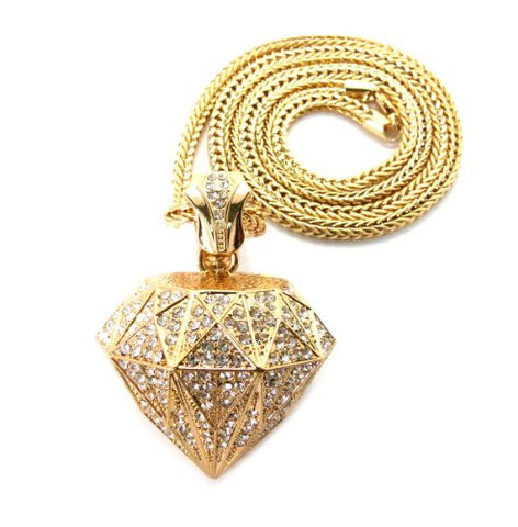 "Iced Out 3D Rhinestone Diamond-Pendant with 36"" Franco Chain Necklace - Gold-Tone MP840G"