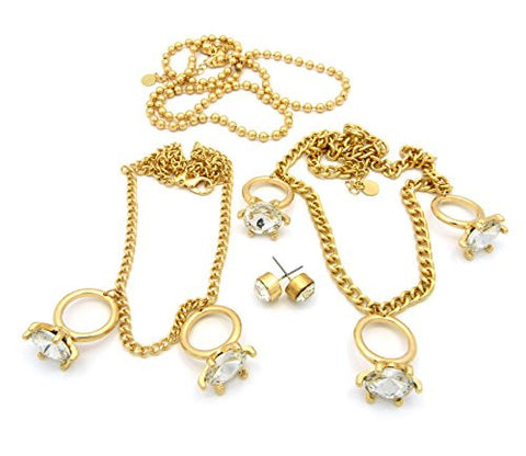 Rhinestone Ring Charm 3 Piece Necklace Set with Stud Earrings in Clear/Gold-Tone JS1050GDCLR