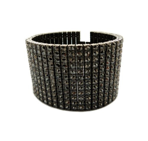 "Iced Out 12 Row Rhinestone Bracelet 8.25"" with Metal Clasp - Hematite-Tone"